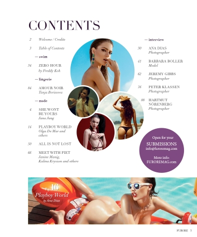 FURORE Magazine Issue 04 Table of Contents