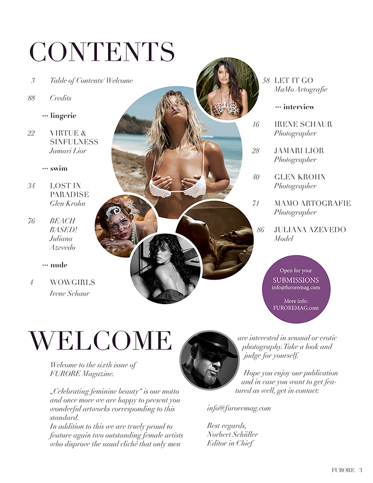 FURORE Magazine Issue 06 Table of Contents